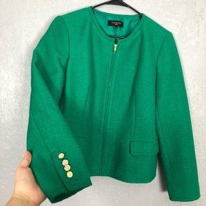 Talbots zippered tweed green blazer
